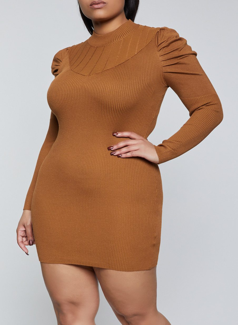 Plus Size Ribbed Puff Sleeve Sweater Dress