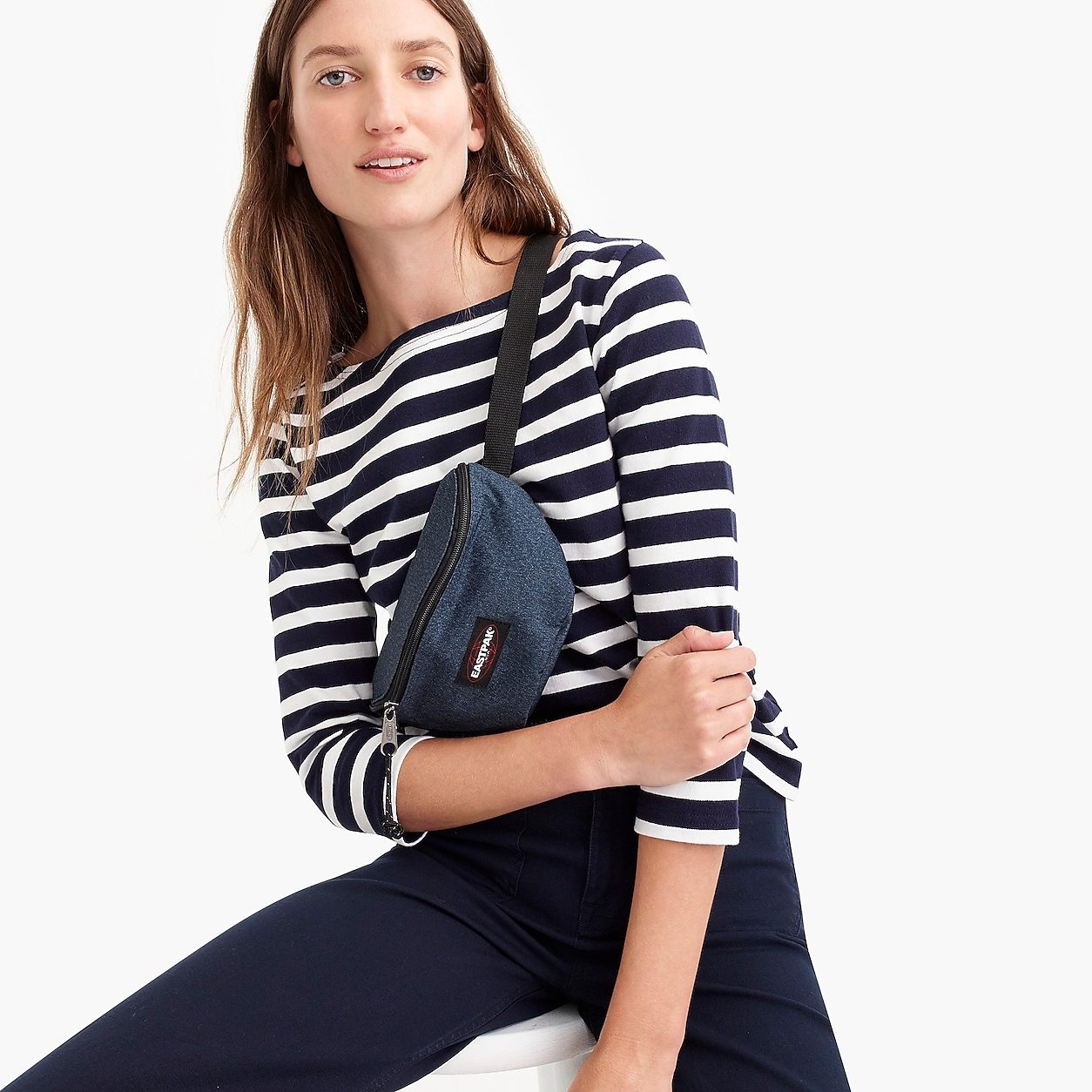 Structured boatneck T-shirt in stripe