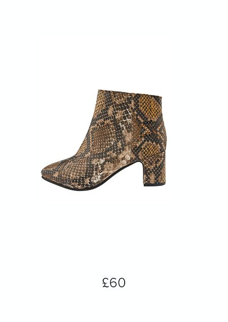 SELENA SNAKE ANKLE BOOTS £60