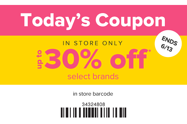 Today's Coupon - Up to 50% off select brands in store. Ends 6/13.