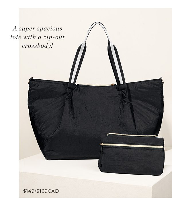 A super spacious tote with a zip-out crossbody!