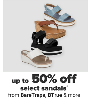 Up to 50% off select sandals from BareTraps, BTrue & more.