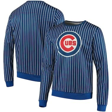 Chicago Cubs Pinstripe Crew Neck Pullover - Royal