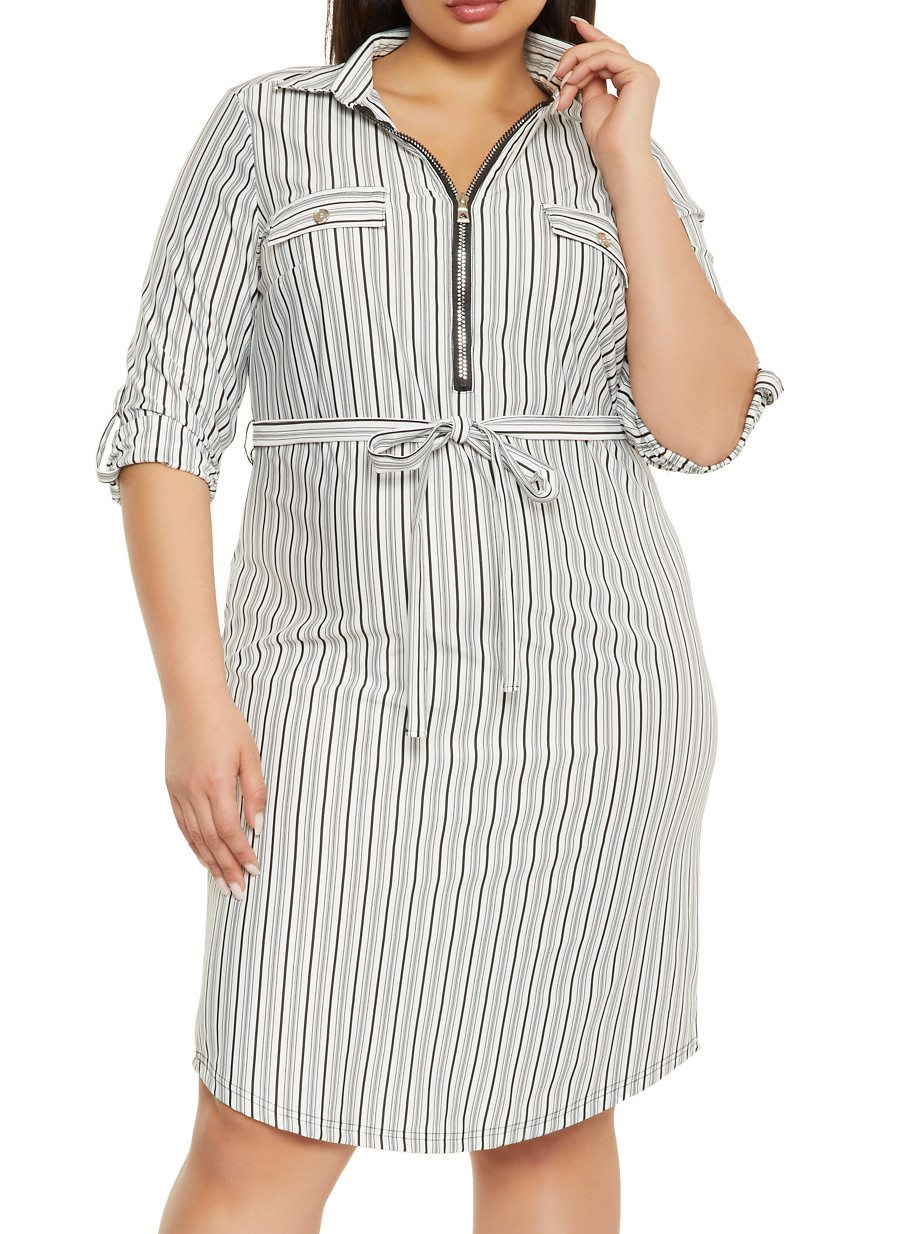 Plus Size Striped Print Tie Waist Shirt Dress