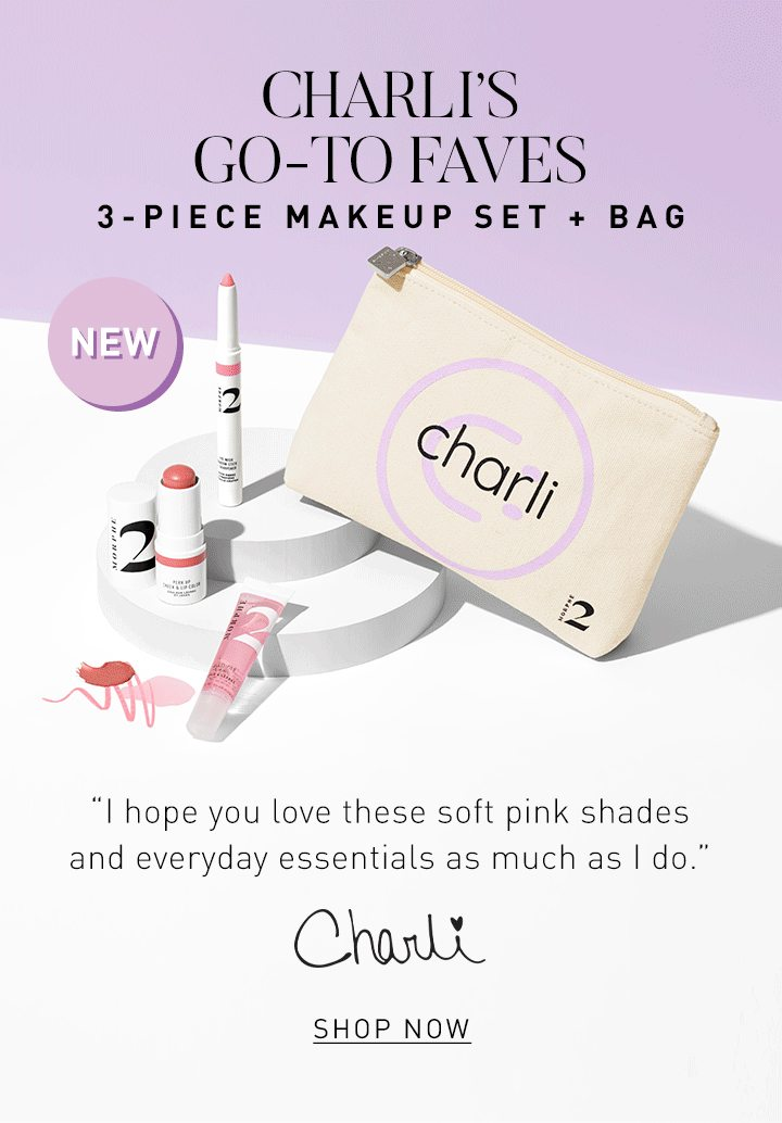 "CHARLI'S GO-TO FAVES 3-PIECE MAKEUP SET + BAG ""I hope you love these soft pink shades and everyday essentials as much as I do."" CHARLI"