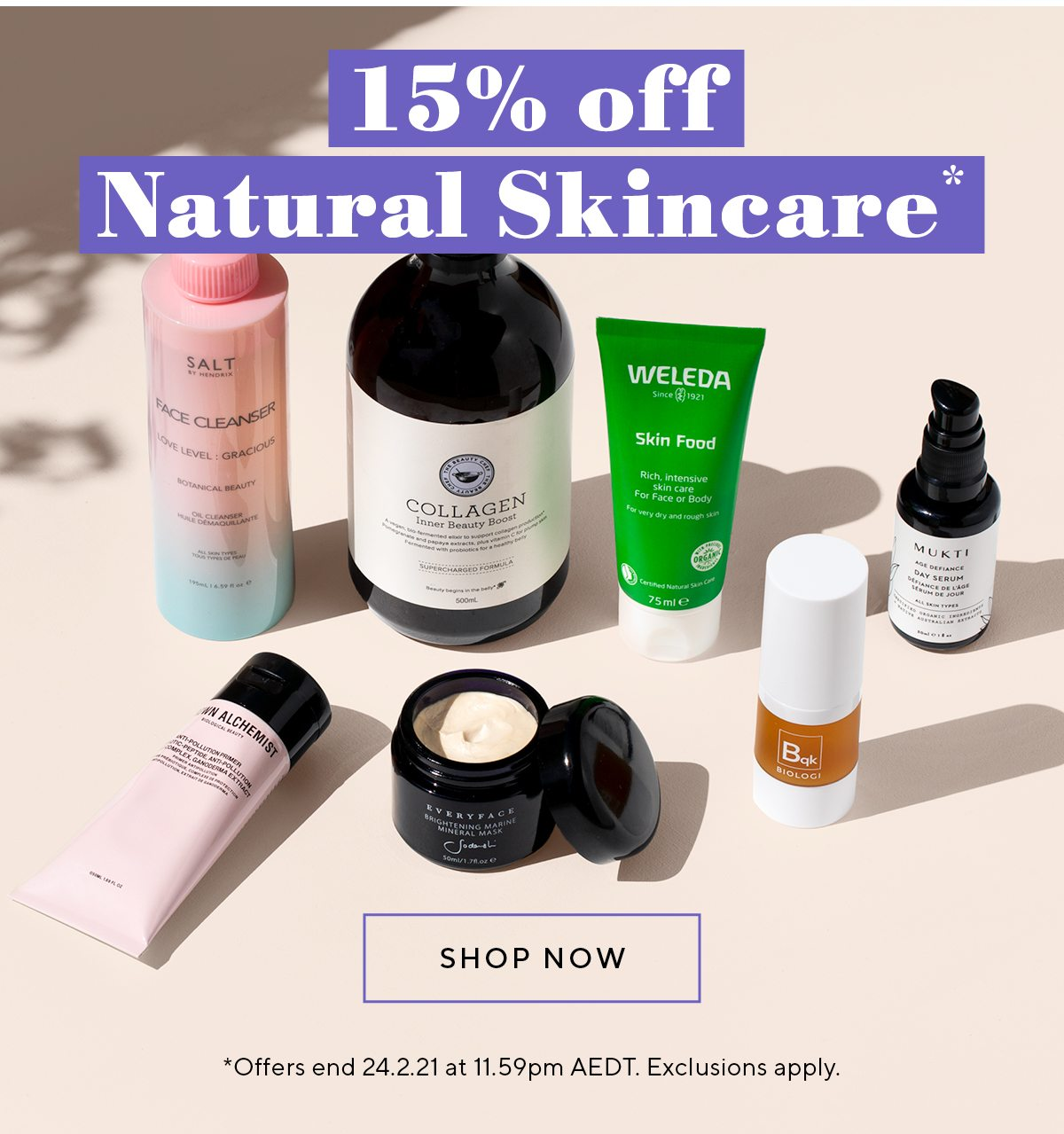 15% off natural skincare*