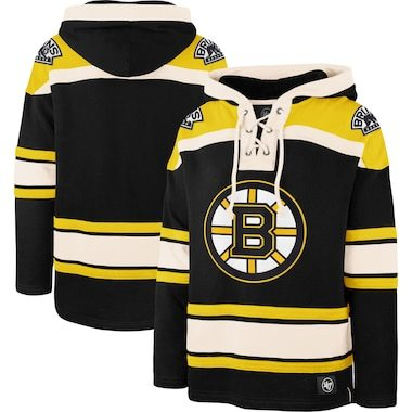 Boston Bruins '47 Superior Lacer Pullover Hoodie - Black/Gold