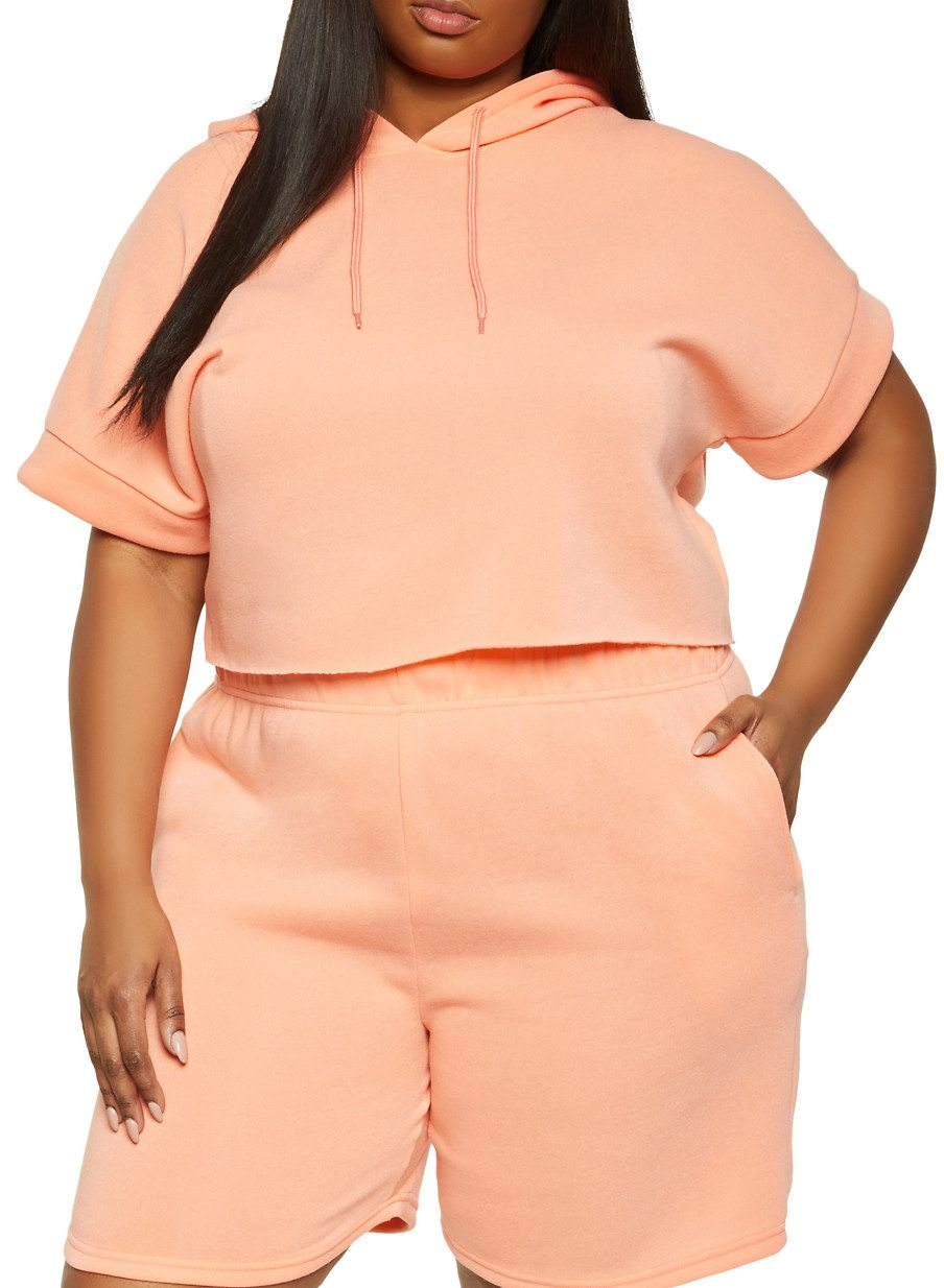 Plus Size Short Sleeve Hooded Top