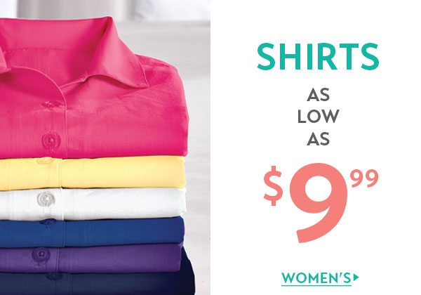 Women's Shirts as low as $9.99