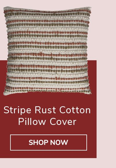 Stripe Rust Cotton Brown Natural Pillow Cover | SHOP NOW