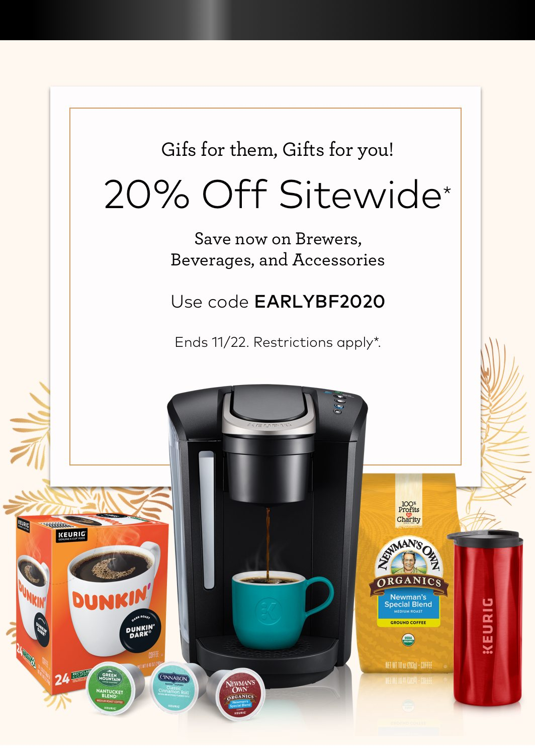 20% off Sitewide with EARLYBF2020