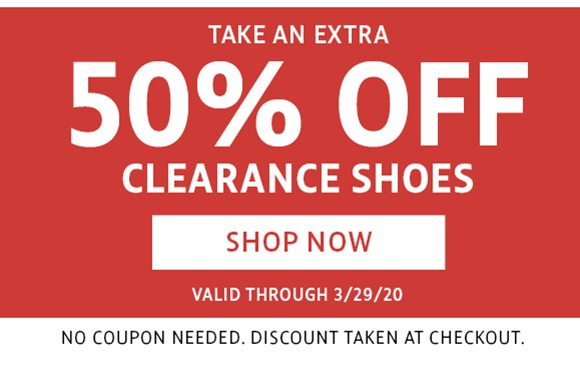 take an extra 50% off clearance shoes
