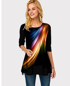 Long Sleeve Printed Round Neck T Shirt