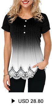 Lace Patchwork Scalloped Hem Crinkle Chest T Shirt
