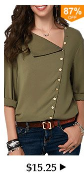 Roll Sleeve Button Detail Army Green Blouse
