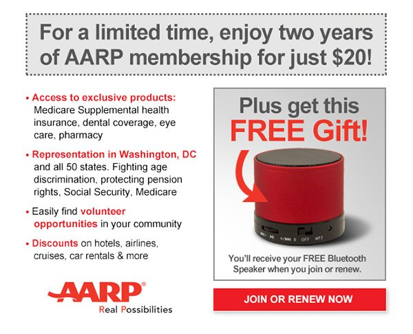 Limited Time Offer! 9 Years of AARP for $90 + a FREE Gift this