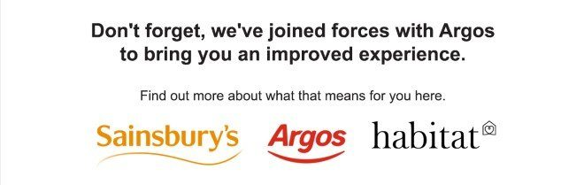 Don't forget, we;ve joined forces with Argos to bring you an improved experience. Find out more about what that means for you here.