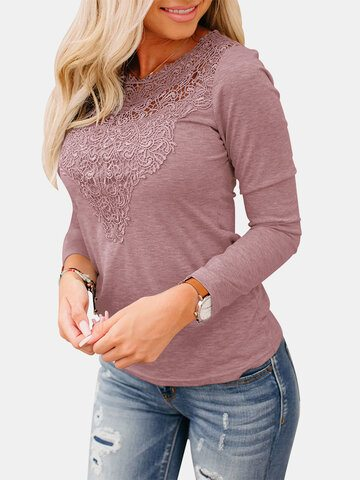 Hollow Out Lace Long Sleeve Blouse
