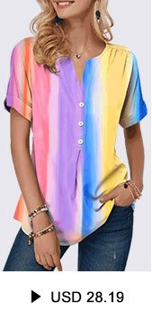 Button Detail Tie Dye Print Split Neck T Shirt