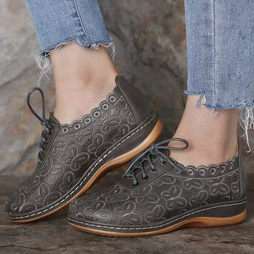 Hollow Lace Up Loafers