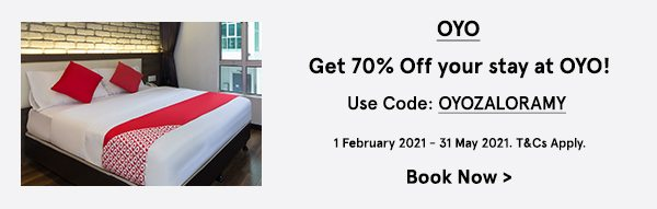Get 70% Off your stay at OYO!
