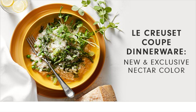 LE CREUSET COUPE DINNERWARE: NEW & EXCLUSIVE NECTAR COLOR
