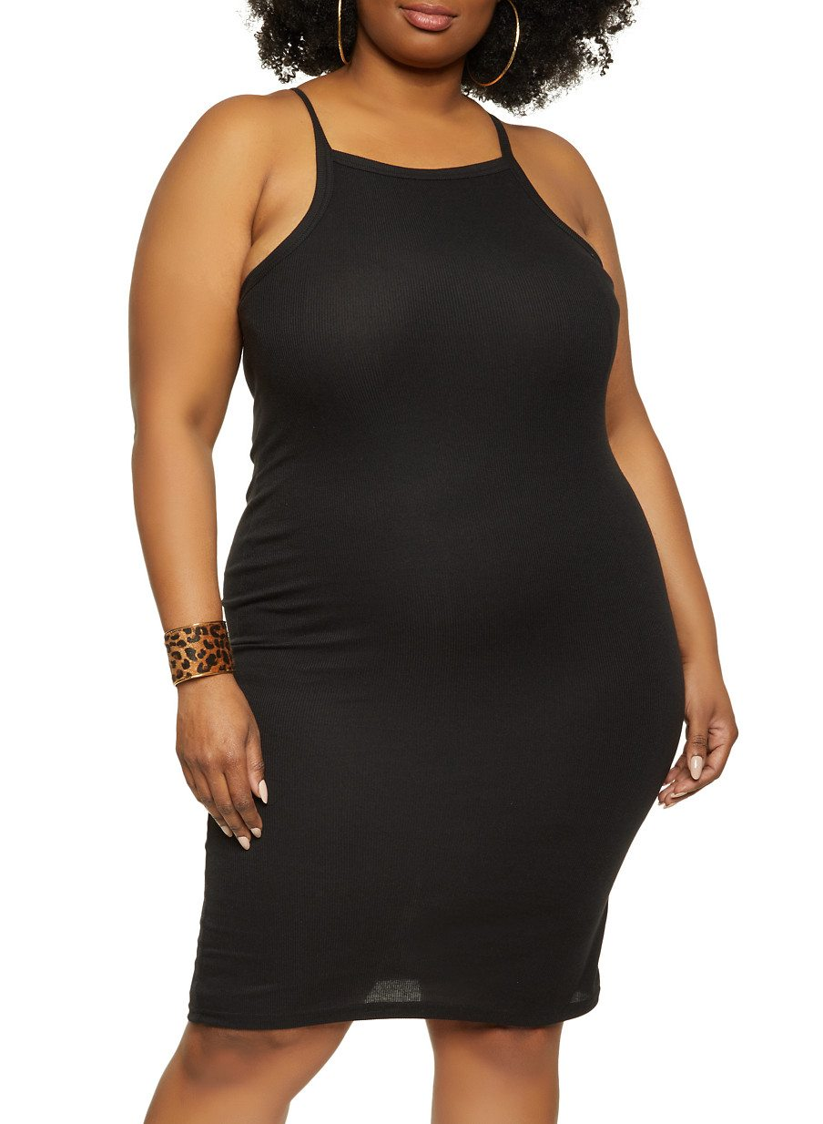 Plus Size Solid Ribbed Knit Cami Dress