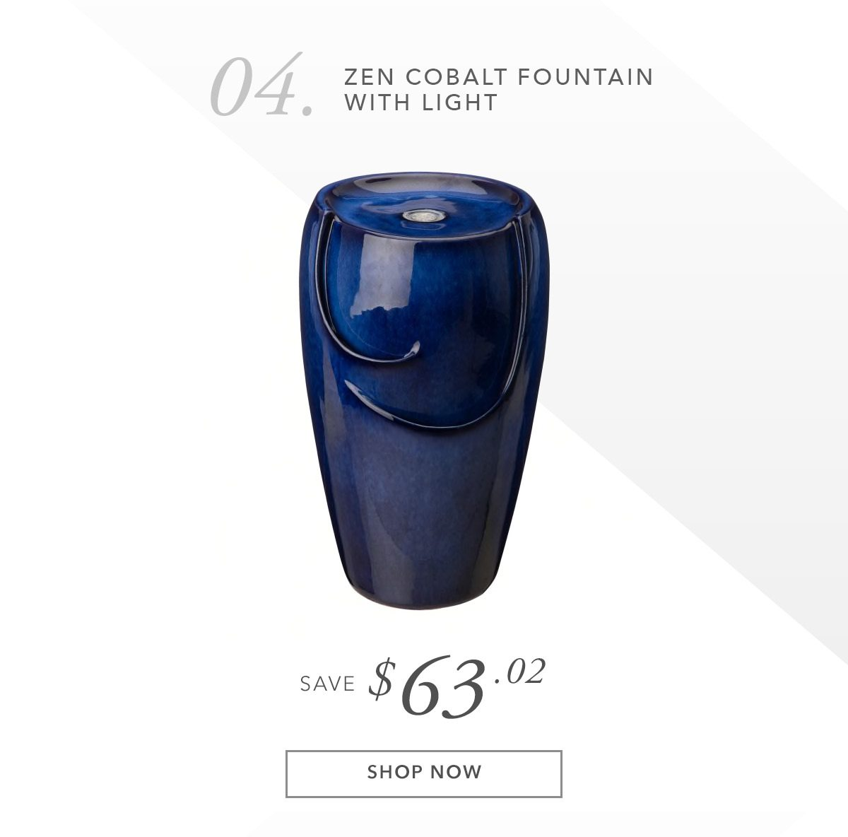 Zen Cobalt Ceramic Outdoor Fountain with Pump and LED Light 20.5   SHOP NOW