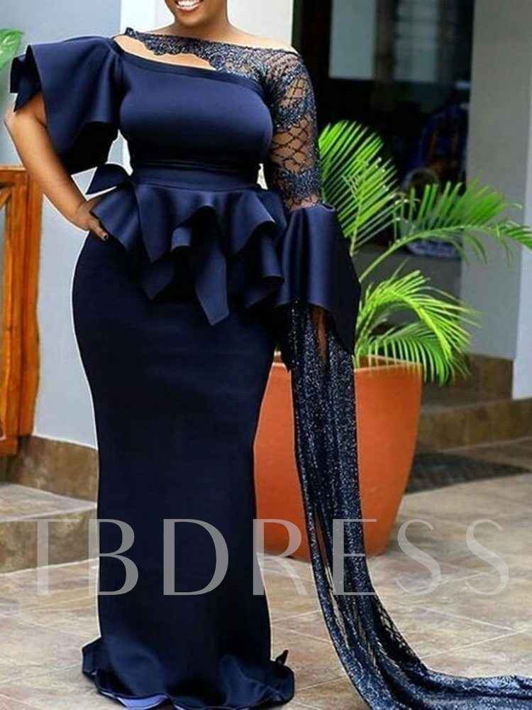 Long Sleeve Asymmetric Floor-Length High Waist Women's Dress
