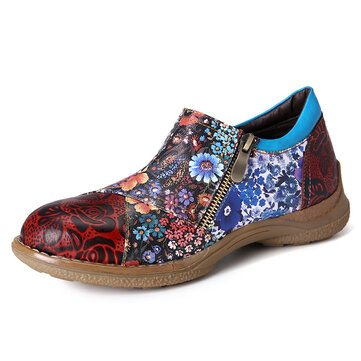 SOCOFY Retro Small Flowers Shoes