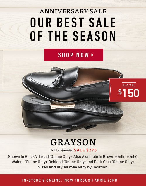 Our best sale of the season. Save $150 on Grayson.