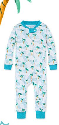 Palm Beach Organic Baby Zip Front Snug Fit Footless Pajama