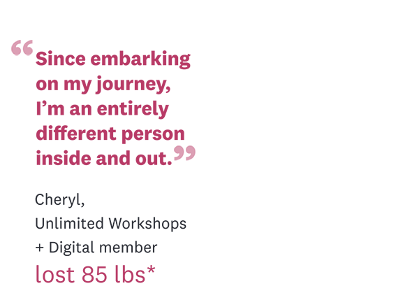 """Since embarking on my journey, I'm an entirely different person inside and out."" Cheryl, Unlimited Workshops + Digital member 