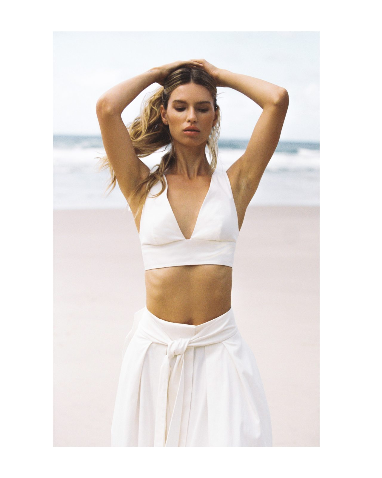 Tammi White Crop Top With Bow Detail