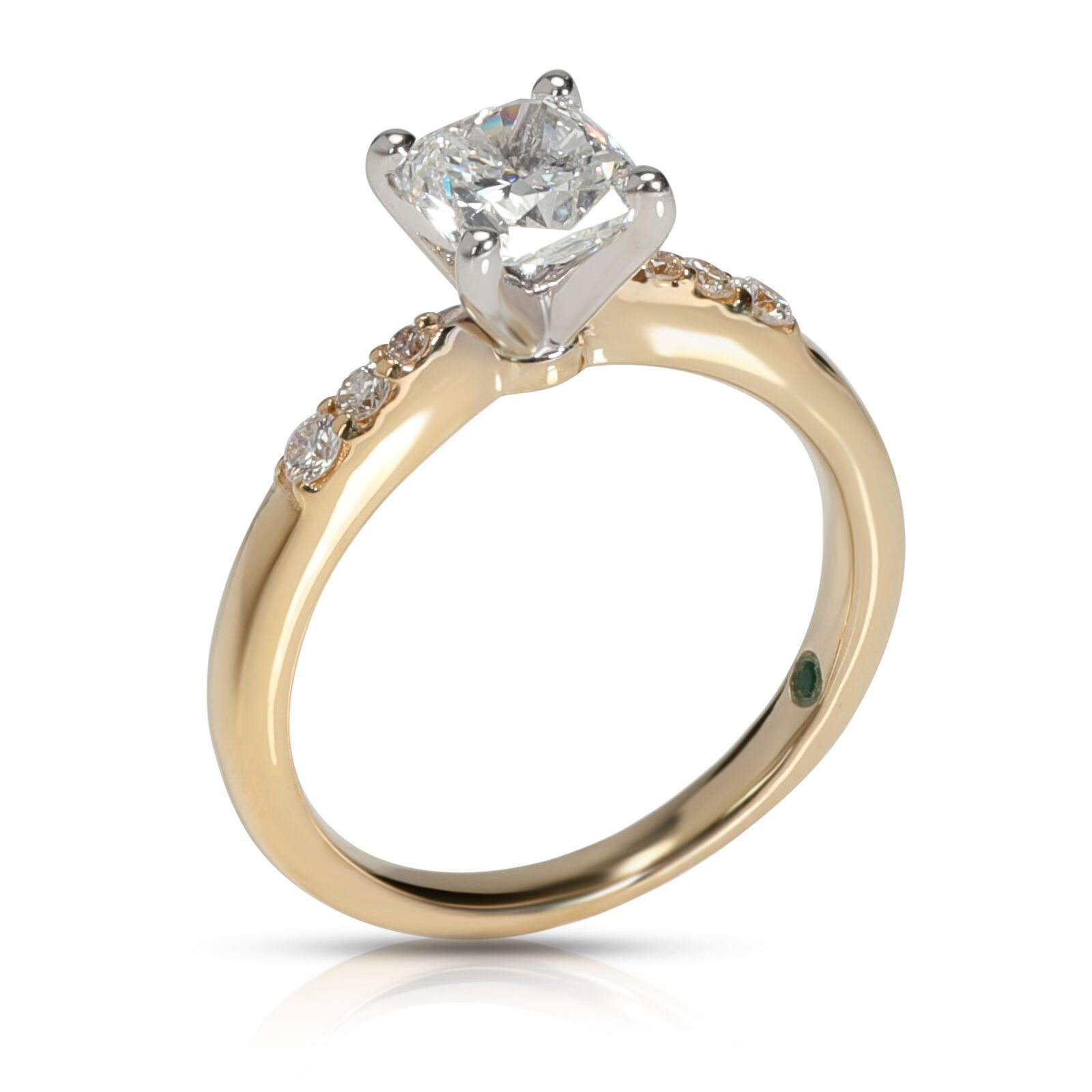 Image of GIA Certified Cushion Diamond Engagement Ring in 14KT Yellow Gold F SI2 1.11 CTW