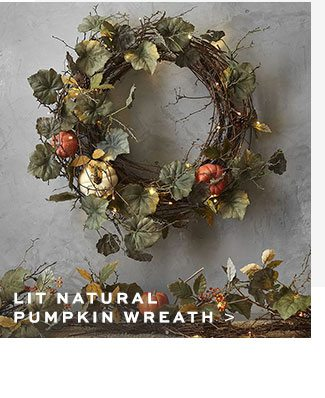 LIT NATURAL PUMPKIN WREATH