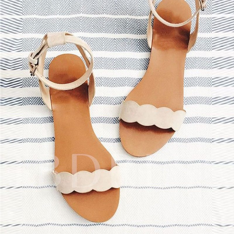 New Simple Nude Flat Sandals