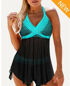 Polka Dot Print Halter Neck Asymmetric Hem Swimdress and Panty
