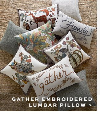 GATHER EMBROIDERED LUMBAR PILLOW
