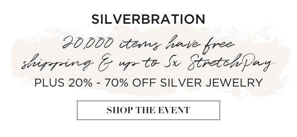 Silverbration: all silver jewelry is 20% to 70% off!