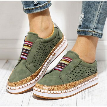 reathable Hollow Splicing Flat Loafers