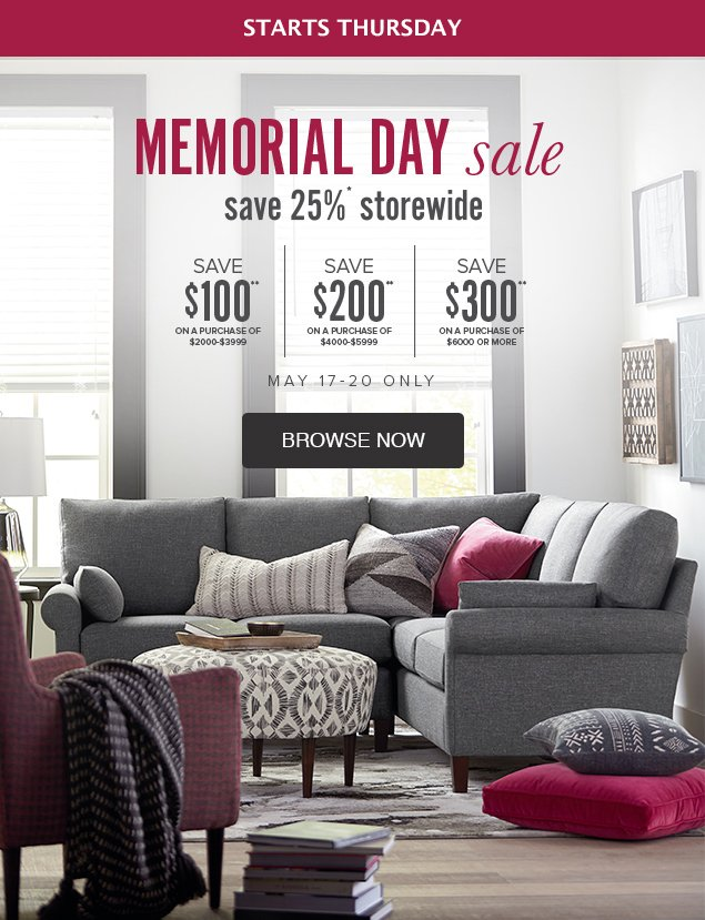 Our Memorial Day Sale Starts Thursday Bassett Furniture Co Email
