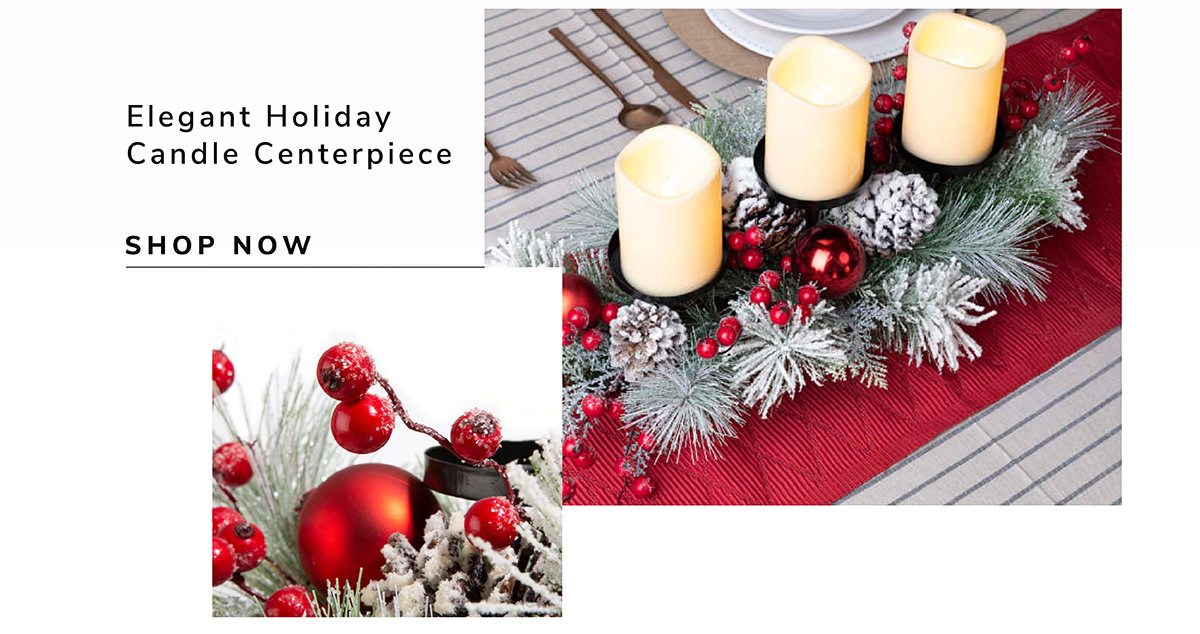 Glitted Berry Ornament Pinecone candle Holder Center Piece | SHOP NOW