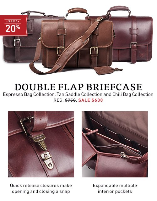 Save 20% on the Double Flap Briefcase