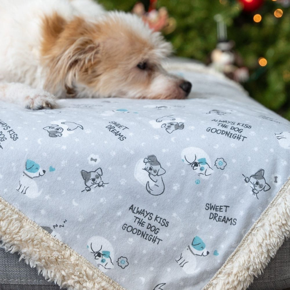 Image of Always Kiss the Dog Goodnight 🐶 Flannel Sherpa Dog Blanket