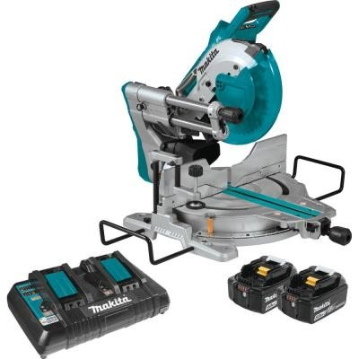 Makita 18-Volt 5.0Ah X2 LXT Lithium-Ion (36V) Brushless Cordless 10 in. Dual-Bevel Sliding Compound Miter Saw with Laser Kit