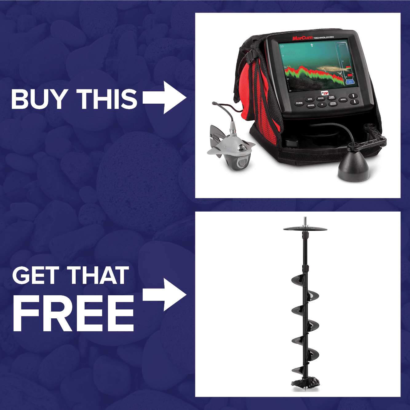 Get a FREE StrikeMaster Lite-Flite Lazer Drill Auger when you buy a MarCum LX-9 Digital Sonar/Camera System