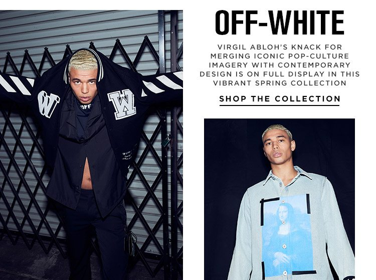 Off-White: Virgil Abloh's knack for merging iconic pop-culture imagery with contemporary design is on full display in this vibrant spring collection - Shop the Collection
