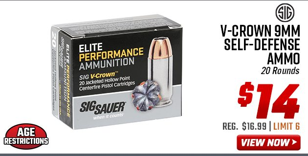 Sig Sauer V-Crown 9mm Self-Defense Ammo of 20 Rounds