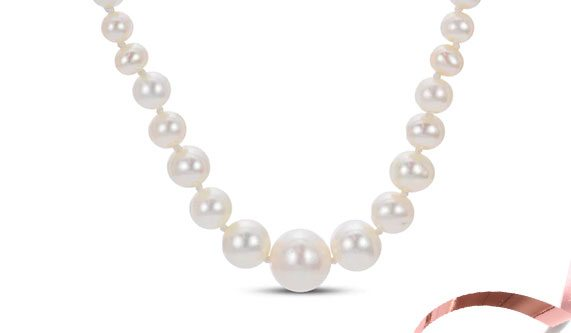 10K Yellow Gold Cultured Pearl Graduated Necklace